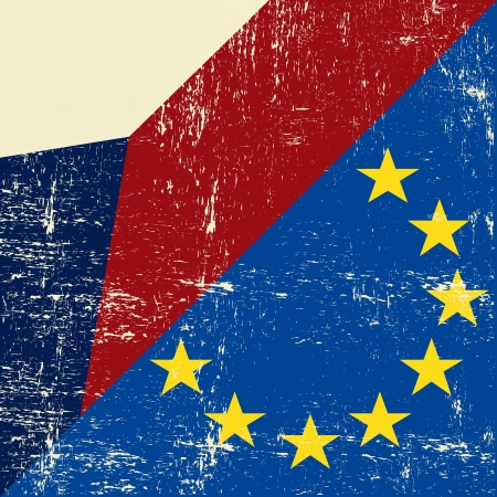 european economic community: Mixed Czech republic and european grunge Flag  Illustration