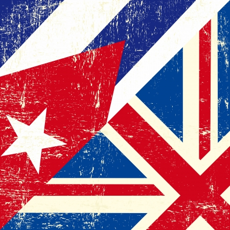 havana cuba: this flag represents the relationship between european UK and Cuba Illustration