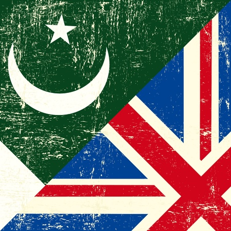 grunge union jack: this flag represents the relationship  between UK and Pakistan