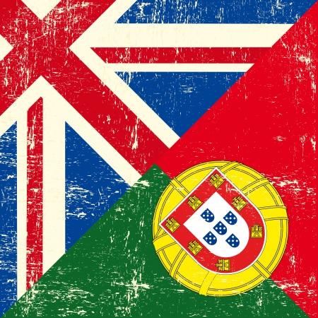 drapeau portugal: ce drapeau représente la relation entre l'Angleterre et le Portugal Illustration