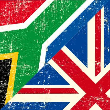 grunge union jack: this flag represents the relationship  between UK union and South Africa