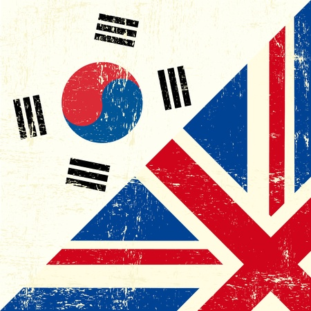 this flag represents the relationship between UK and the South Korea Vector