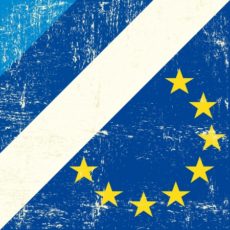european economic community: Mixed grunge flag of Estonia and european Illustration