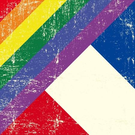 bandera gay: Bandera gay grunge mezclado con el indicador franc�s
