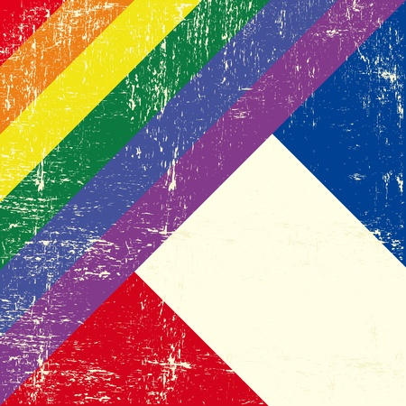 french culture: Mixed grunge gay flag with french flag Illustration
