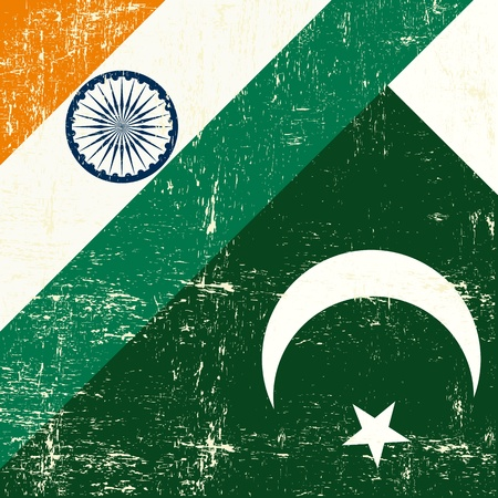 this flag represents the relationship between India and the Pakistan Vector