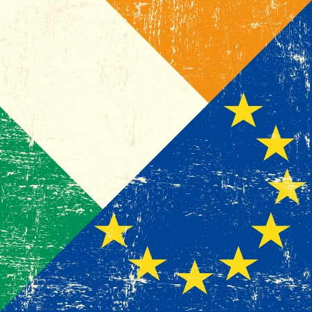 european economic community: Mixed Irish and european grunge Flag  Illustration