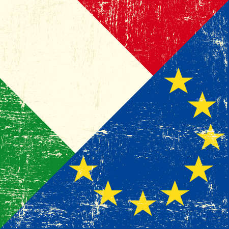 Mixed Italian and european grunge Flag  Vector