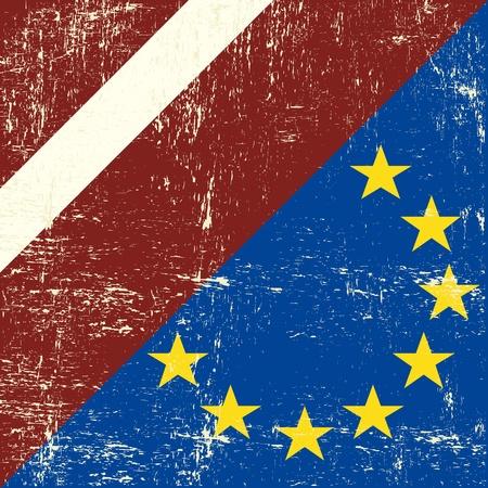 european economic community: Mixed Latvia and european grunge Flag