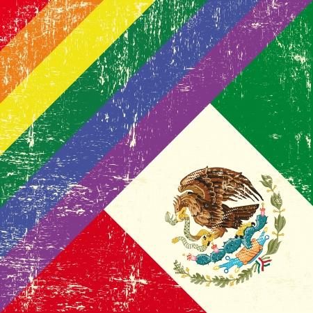 mexican flag: Mixed bandiera grunge con bandiera messicana Vettoriali