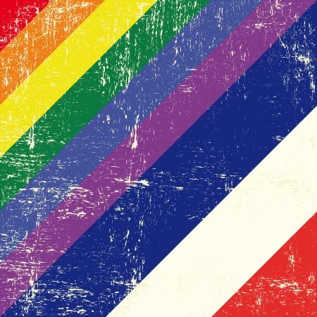 bandera gay: Grunge mezclado bandera gay con bandera holandesa Vectores