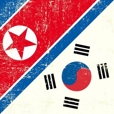 このフラグは北朝鮮と韓国との関係を表します  イラスト・ベクター素材