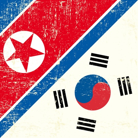 this flag represents the relationship between North Korea and South Korea Illustration
