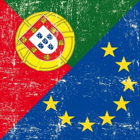 european parliament: Mixed Portuguese and european grunge Flag