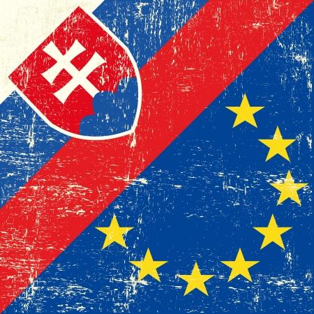 Mixed Slovak and european grunge Flag Stock Vector - 19350347
