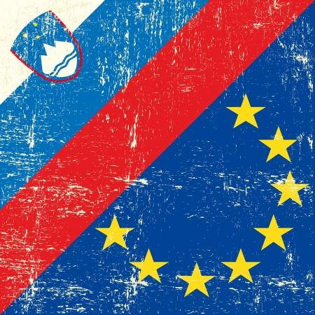 slovenia: Mixed Slovenian and european grunge Flag