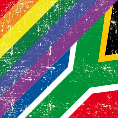 trans gender: Mixed grunge flag with south african flag Illustration