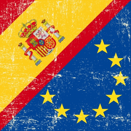 Mixed Spanish and european grunge Flag  Vector