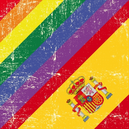 festivities: Mixed grunge flag with spanish flag
