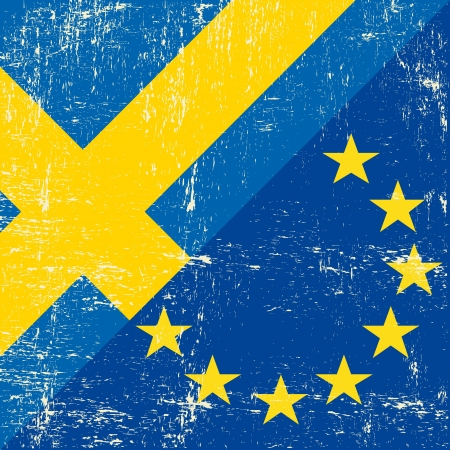 Mixed Swedish and european grunge Flag Vector