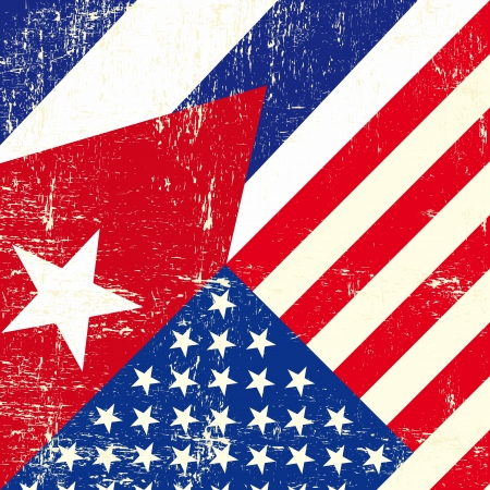 havana cuba: this flag represents the relationship  between Cuba and the USA Illustration