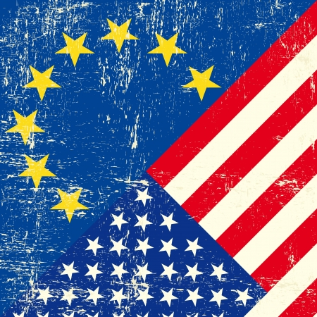 this flag represents the relationship  between european union and the usa Vector
