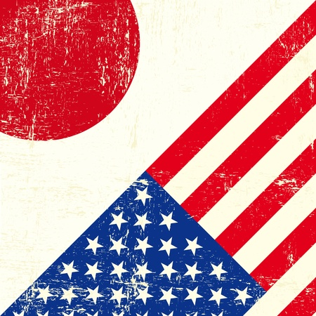 this flag represents the relationship  between Japan and the USA Vector