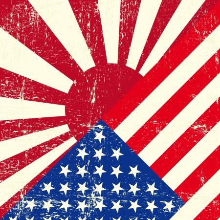 kamikaze: Mixed USA and japan war grunge Flags  Illustration