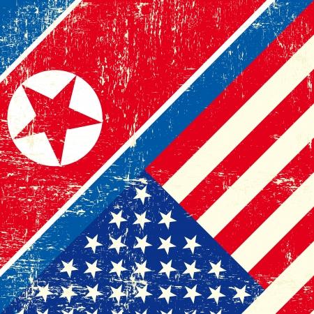 이 플래그는 북한과 미국 사이의 관계를 나타내는 일러스트