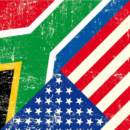 this flag represents the relationship  between South africa and the USA Vector