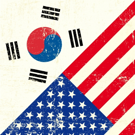 us grunge flag: this flag represents the relationship  between the South korea and the USA Illustration