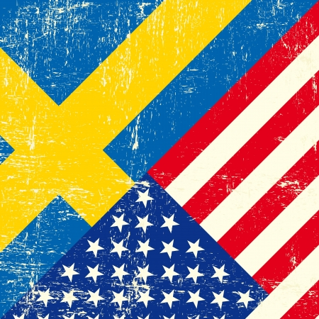tour operator: this flag represents the relationship  between Sweden and the USA Illustration