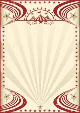 첫날: 서커스 레드 빈티지 포스터