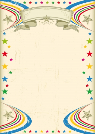 A vintage champagne color poster with multicolor stars for your advertising Vector