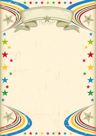 cabaret stage: Un cartel de color champagne con estrellas multicolores para su publicidad