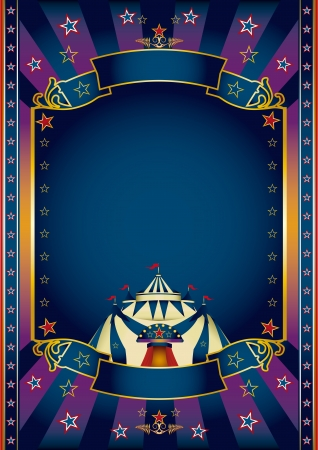 soiree: A purple and blue circus poster for your show.