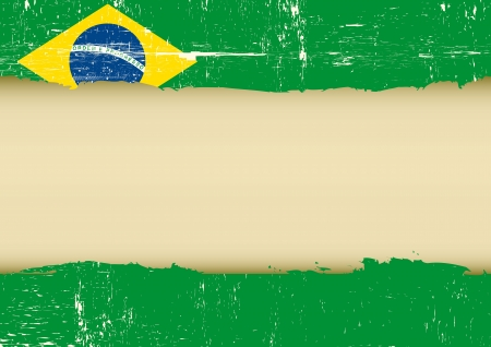 torned: A brazilian flag with a large frame for your message Illustration