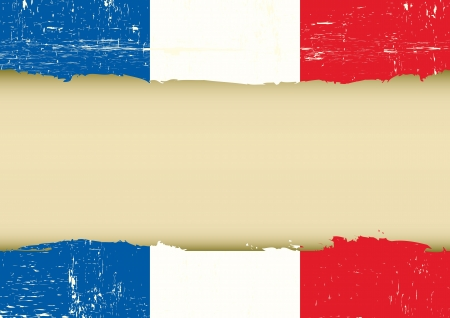 french culture: A french flag with a large frame for your message Illustration