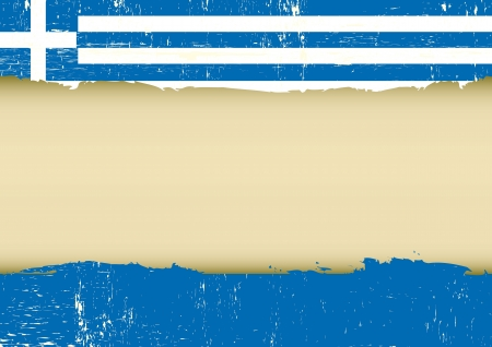 A greek flag with a large frame for your message Çizim