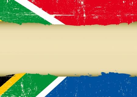 parchment texture: Una Bandiera del Sud Africa, con una grande cornice per il tuo messaggio