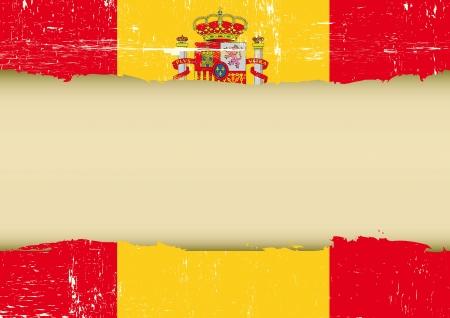 bandiera spagnola: Una bandiera spagnola con una grande cornice per il tuo messaggio Vettoriali