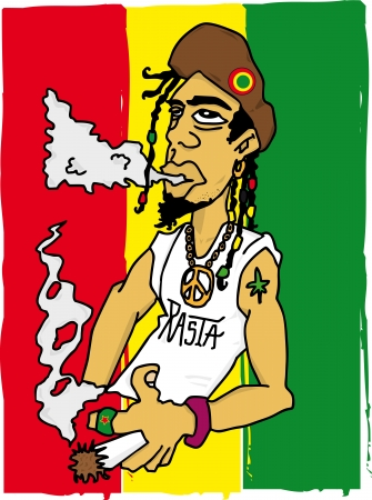Illustration of a rastafarian man on a jamaican flag Vector