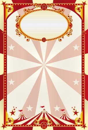 Een grote retro circus poster met een grote tent voor u