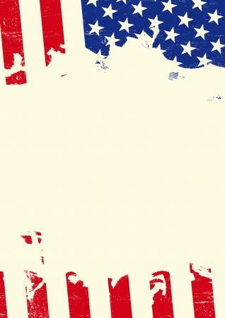 Een poster met een Amerikaanse vlag gescheurd