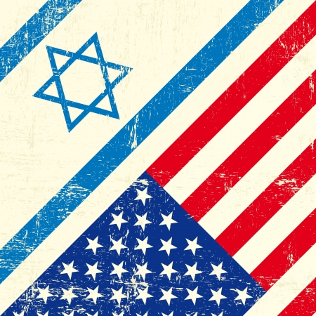 Mixed flag of Israel and the united states of America Vector