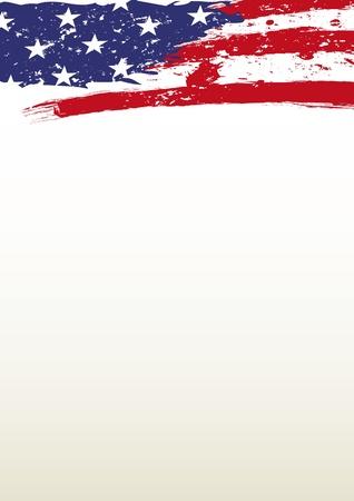 アメリカ国旗を持つヘッダー紙  イラスト・ベクター素材
