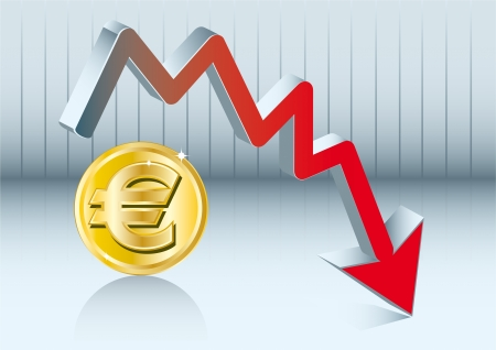 Euro is going down Stock Vector - 20007890