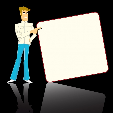 light brown hair: Mister pub with a board for your advertising
