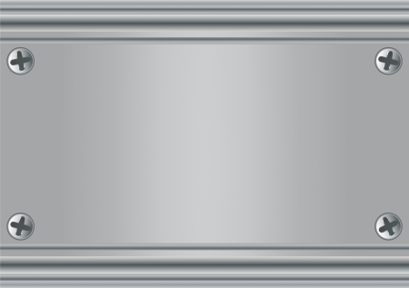grooves: A metal plate with four screws Illustration