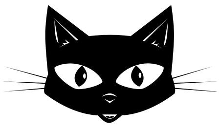 gato negro: Cara de un gato negro en una etiqueta adhesiva o una m�scara